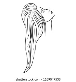 Vector image of the head of the beautiful girl. The drawing of the brunette with the thrown-back head. Profile lovely young woman. New minimalism. Vector illustration of the face of the nice lady