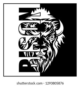 Vector image of the head of a bison. The giant from prairies. Indian symbol of freedom and force. Black tribal tattoo. Vector illustration.