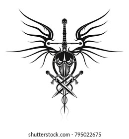 The vector image of the head of the demon with a sword, daggers and wings of a dragon. Black tribal tattoo. Vector illustration.