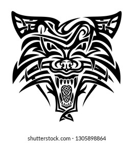 Vector image of the head of a furious wolf. Forest predator. Wolfhound. Gray murderer. Symbol of Celts. Totem. Sacred animal of Vikings. Black tribal tattoo. Vector illustration.