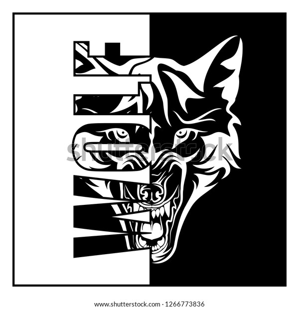 Vector Image Head Growling Wolf Forest Stock Vector (Royalty