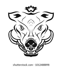 Vector image of the head of a predatory boar. Rage and force. Black tribal tattoo. Vector illustration.
