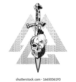Vector image head of the Viking. Dead hero. Skull of the mythical warrior. Scandinavian myths.  Illustrations for t shirt print. Norman grunge style. Triskelion. Triskele. Valknut. Nordic tattoo.