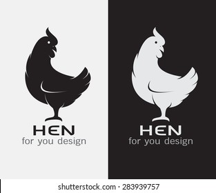 Vector image of an hen on white background and black background