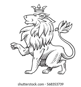 Vector image of heraldic lion with a big mane sitting turned left with a crown on his head on a white background. Coat of arms, heraldry, emblem, symbol. Made in monochrome style. Vector illustration.