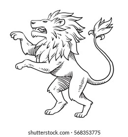 Vector image of heraldic lion with a big mane standing on its hind legs and turn left on a white background. Coat of arms, heraldry, emblem, symbol. Made in monochrome style. Vector illustration.