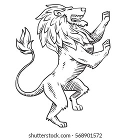 Vector image of heraldic lion with a big mane standing on its hind legs and turn right on a white background. Coat of arms, heraldry, emblem, symbol. Made in monochrome style. Vector illustration.
