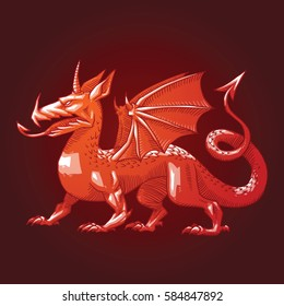 Vector image of a heraldic red dragon with big wings standing and looking to the left on a dark red background. Coat of arms, heraldry, emblem, symbol. Color image. Vector illustration.