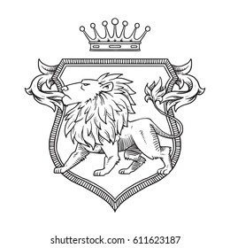 Vector image of a heraldic shield with a crown on the top and with a heraldic lion looking to the left in the center on a white background. Coat of arms, heraldry, emblem, symbol. Line art.