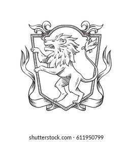 Vector image of a heraldic shield with curls, ribbons and with a heraldic lion standing on its hind legs turn left  in the center on a white background. Coat of arms, heraldry, emblem, symbol.Line art