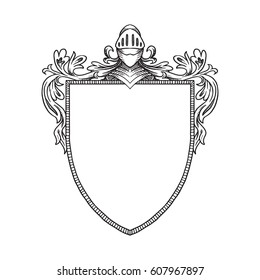 Vector image of a heraldic shield with a knight's helmet with visor and curls on a white background. Coat of arms, heraldry, emblem, symbol. Made in monochrome style. Line art. Vector illustration.