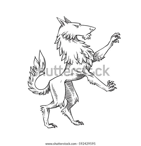 Vector Image Heraldic Wolf Standing On Stock Vector Royalty Free