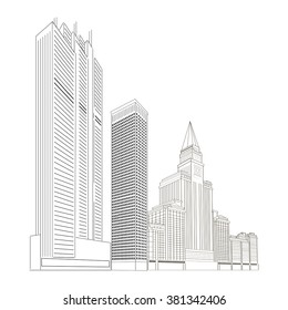 Vector image of high-rise buildings and streets. Skyscrapers of the business section of a major city. The colorless image with a black stroke. Isolated on white background.