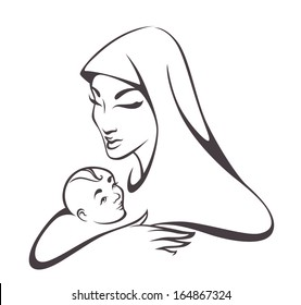Vector image of holy family, Madonna and child