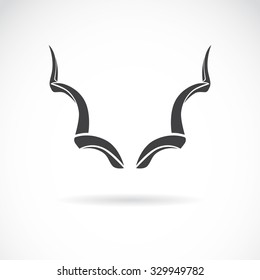 Vector image of an horns on a white background, Greater Kudu