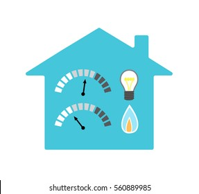Vector image of a house with light bulb, gas flame and indicators