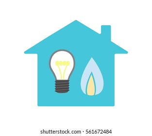 Vector image of a house with a light bulb and gas flame