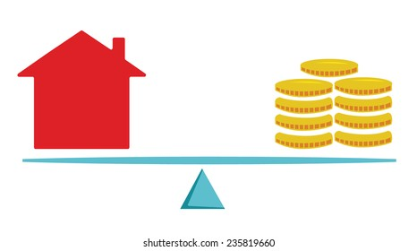 Vector image of a house and money balancing on scales