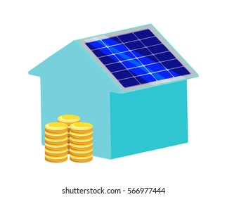 Vector image of a house with a solar panel and coins