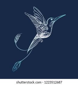 Vector image of a hummingbird. Tattoo art, t-shirt design.