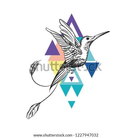 51976524e Vector Image Hummingbird Tattoo Art Tshirt Stock Vector (Royalty ...
