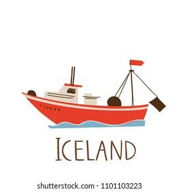 Vector image of Icelandic ship.