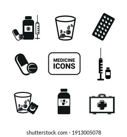 Vector image. Icon of different types of medicine and pills.