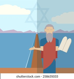 Vector image of an icon of Moses