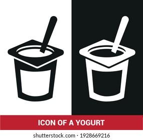 Vector image. Icon of a yogurt.