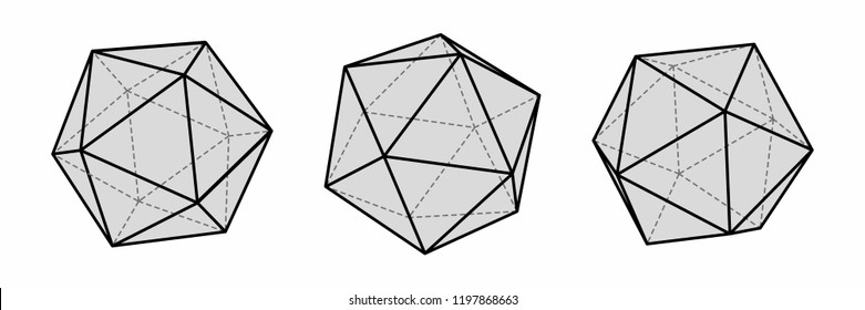 Vector image of icosahedron. Volumetric geometric shapes. Three-dimensional forms polyhedrons.