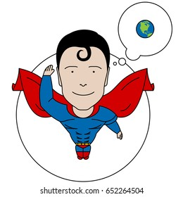 Vector image illustration doodle character of superman hero man guy thinking bubble earth