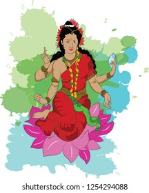 Vector image, Illustration of Godess, Colorful picture