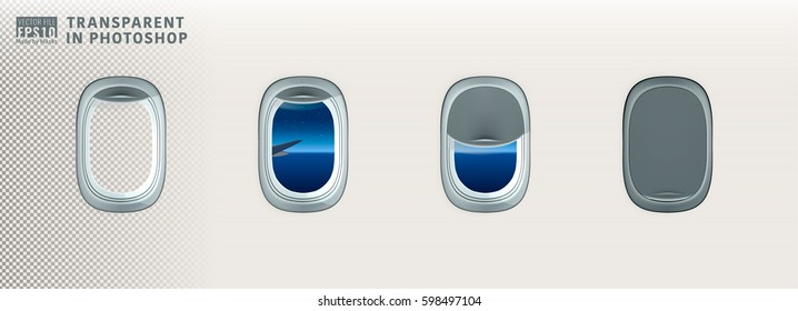 Vector image illustration set of air plane realistic window porthole open closed inside cabin with night sky moonlight view stars lights reflect on glass. Isolated on transparent background