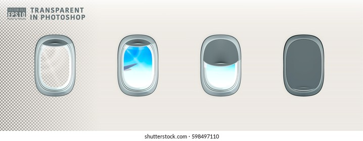 Vector image illustration set of air plane realistic window porthole open closed inside cabin with sky day sunshine view with ray of lights reflect on glass. Isolated on transparent background