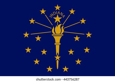 Vector image of  Indiana State Flag. Proportion 2:3. EPS10.