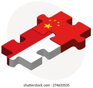 Vector Image - Indonesia and China Flags in puzzle isolated on white background