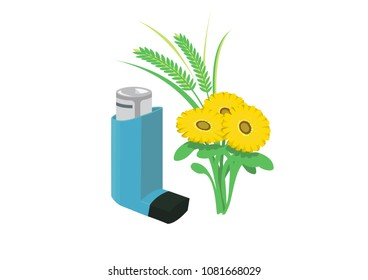 Vector image of an inhaler with bright flowers and a plant or grass, representing allergies and asthma