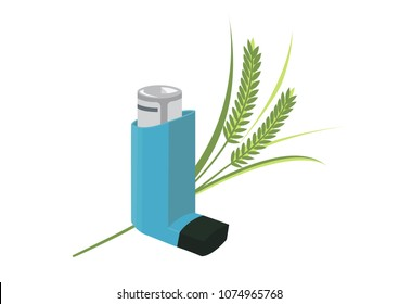 Vector image of an inhaler with a plant or grass, representing allergies and asthma
