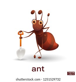 Vector image of an insect. Cartoon character cute red ant.