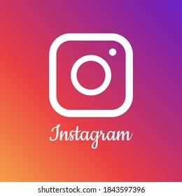 Vector image of instagram logo on background. Editorial vector illustration. Vinnitsa, Ukraine - October 29, 2020.