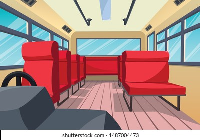 The vector image of the interior of the bus on the red seat is very beautiful.