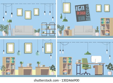 Vector image of the interior rooms. Collection of several interiors in one picture. Here are shown the various office spaces that are well suited to your design.