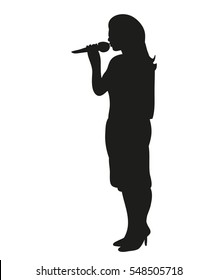 vector image isolated silhouette of a singing girl with a microphone