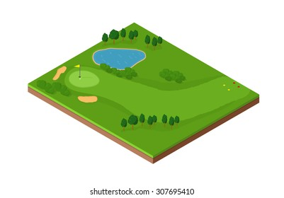 A vector image of an isometric golf hole with putting green, bunker and fairway. Isometric Golf course Icon illustration. Isometric tile with golf green and land features,