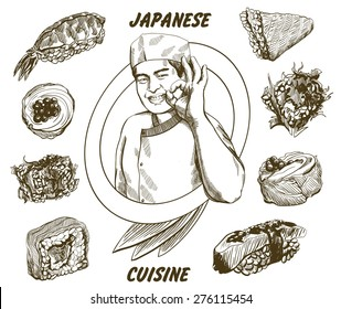 Vector image of japanese chef which give okay sign with sushi set around him