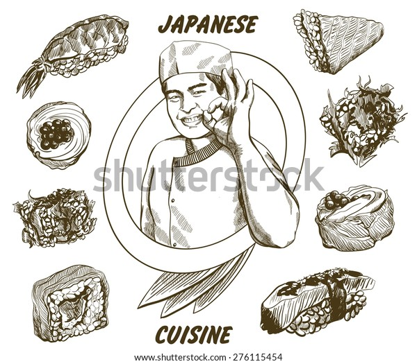 Vector Image Japanese Chef Which Give Stock Vector Royalty Free 276115454