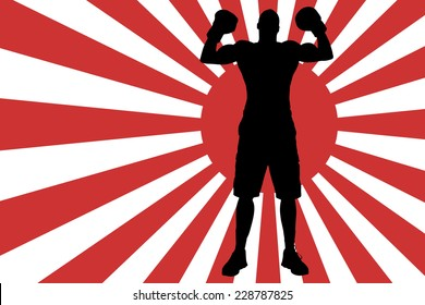 Vector image of the Japanese flag as a background.