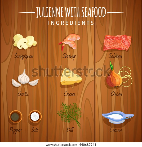 Vector image. Julienne with seafood. Ingredients