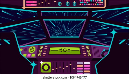 vector image of a jump in space with a view from the cockpit in a spaceship
