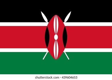 Vector image of Kenya flag. Proportion2:3. EPS10.